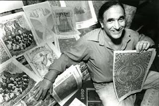 Allen Cohen with Oracle prints / Courtesy of AllenCohen.us