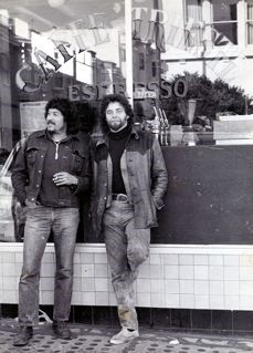 Roberto Ayala and Michael Bowen in front of Caffe Trieste in North Beach. / Courtesy of Princeton By The Sea Memories