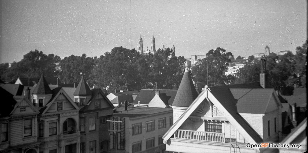 View from a rooftop at Page and Ashbury, c. 1940s. / Courtesy of a Private Collector, OpenSFHistory.org