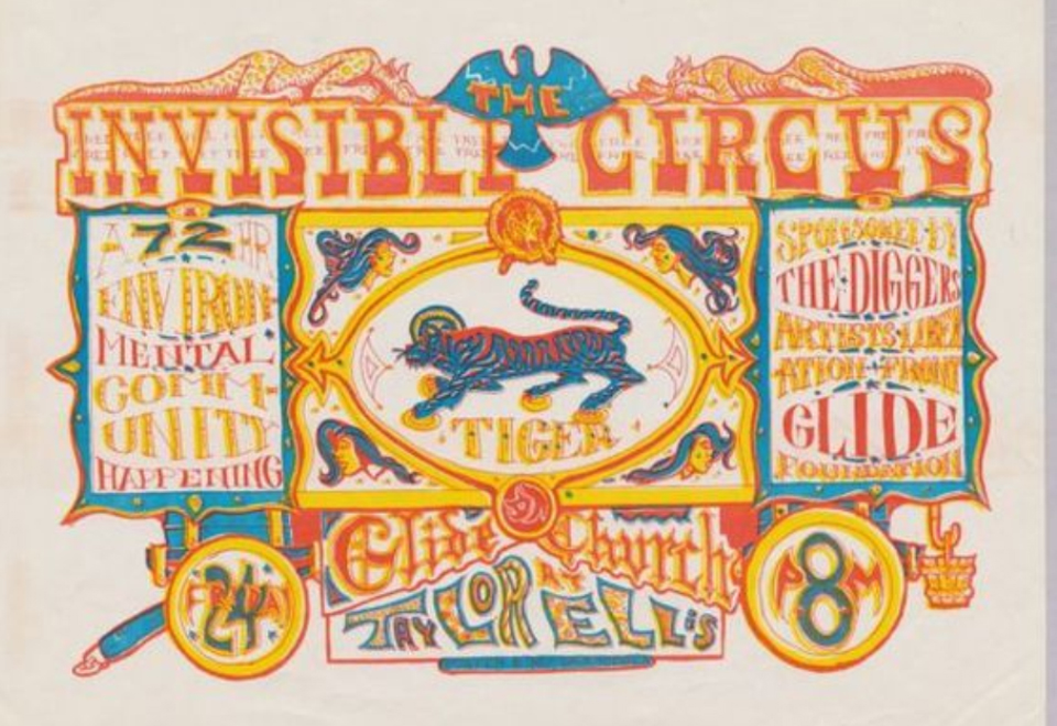 """ave Hodges """"Poster for The Invisible Circus: A 72 Hour Environmental Community Happening"""" (1967)"""