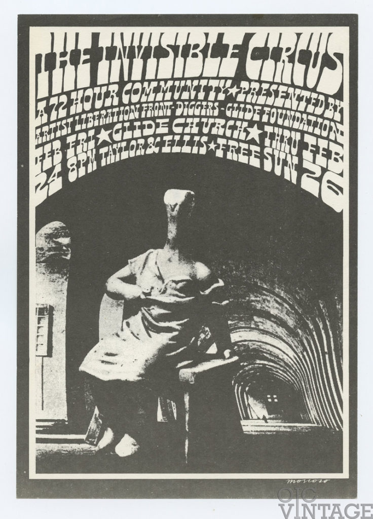 The Invisible Circus The Diggers Artists Liberation Front & Glide Church Handbill Victor Moscoso 1967 Feb 24